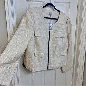NWT cream tweed fabric zip-up blazer